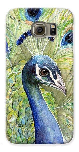 Birds Galaxy S6 Case - Peacock Watercolor Portrait by Olga Shvartsur