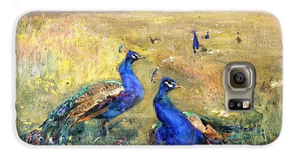 Peacocks In A Field Galaxy S6 Case by Mildred Anne Butler