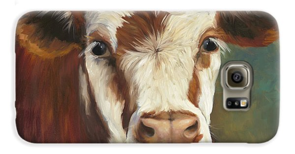 Cow Galaxy S6 Case - Pearl Iv Cow Painting by Cheri Wollenberg