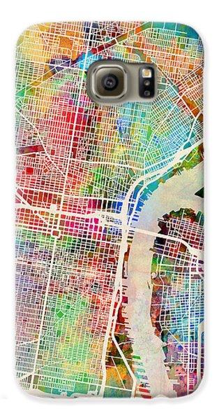Philadelphia Galaxy S6 Case - Philadelphia Pennsylvania Street Map by Michael Tompsett