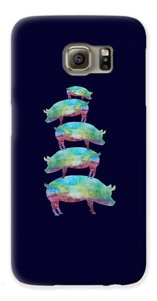 Pig Stack Galaxy S6 Case by Jenny Armitage