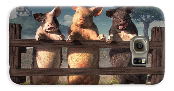 Pigs On A Fence Galaxy S6 Case by Daniel Eskridge
