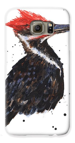 Pileated Woodpecker Watercolor Galaxy S6 Case by Alison Fennell