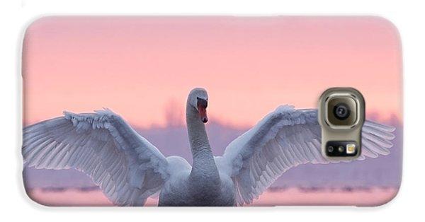 Swan Galaxy S6 Case - Pink Swan by Roeselien Raimond