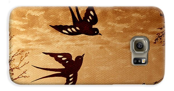 Galaxy S6 Case featuring the painting Playful Swallows Original Coffee Painting by Georgeta  Blanaru
