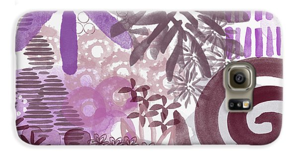 Orchid Galaxy S6 Case - Plum And Grey Garden- Abstract Flower Painting by Linda Woods