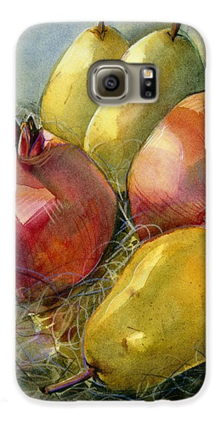 Food And Beverage Galaxy S6 Case - Pomegranates And Pears by Jen Norton