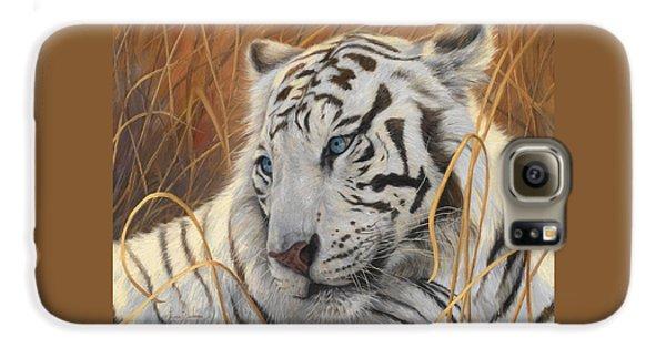 Portrait White Tiger 1 Galaxy S6 Case by Lucie Bilodeau