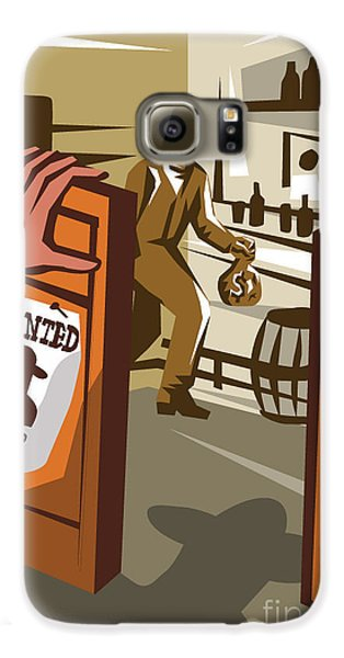 Drums Galaxy S6 Case - Poster Illustration Of An Outlaw Cowboy by Patrimonio Designs Ltd
