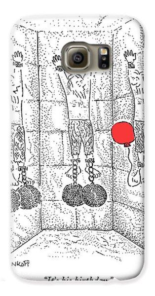 Dungeon Galaxy S6 Case - Prisoner In Dungeon Has Orange Balloons Attached by Robert Mankoff