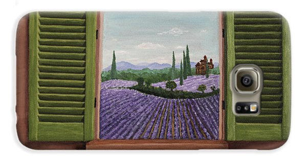 Galaxy S6 Case featuring the painting Provence Lavander Fields Original Acrylic by Georgeta Blanaru