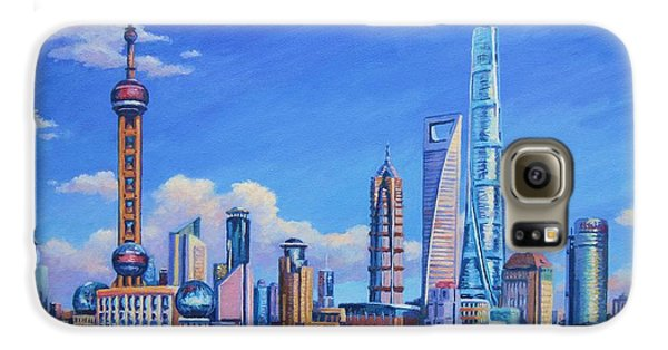 Pudong Skyline  Shanghai Galaxy S6 Case by John Clark