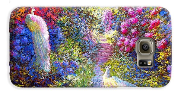 Impressionism Galaxy S6 Case -  White Peacocks, Pure Bliss by Jane Small