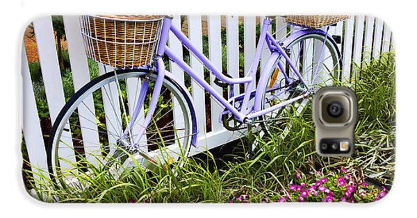 Purple Bicycle And Flowers Galaxy S6 Case