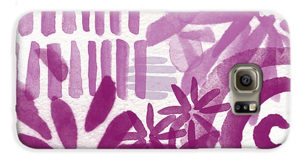 Purple Garden - Contemporary Abstract Watercolor Painting Galaxy S6 Case by Linda Woods