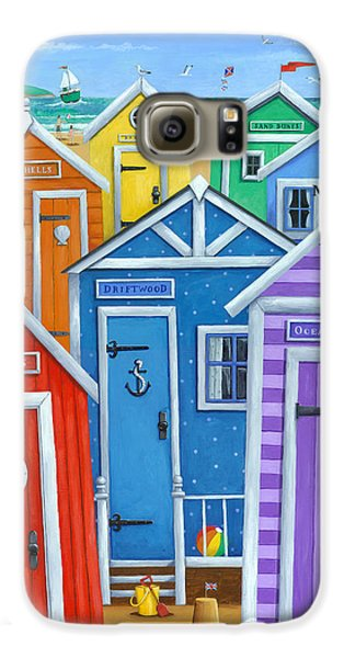 Rainbow Beach Huts Galaxy S6 Case