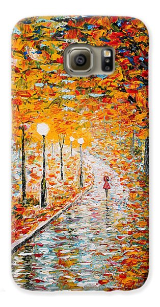 Galaxy S6 Case featuring the painting Rainy Autumn Day Palette Knife Original by Georgeta  Blanaru