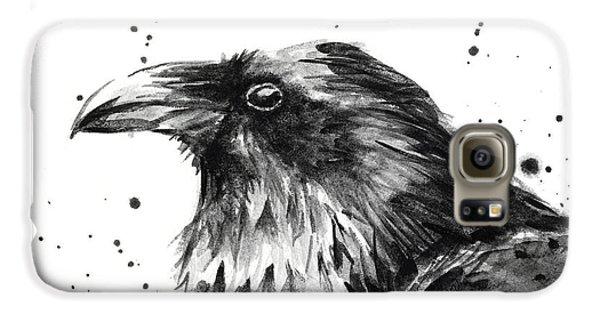 Crow Galaxy S6 Case - Raven Watercolor Portrait by Olga Shvartsur