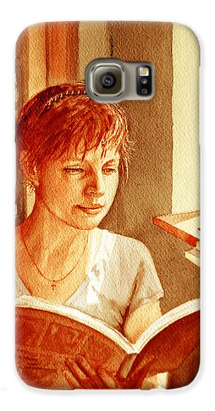 Galaxy S6 Case featuring the painting Reading A Book Vintage Style by Irina Sztukowski