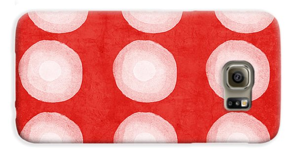 Red And White Shibori Circles Galaxy S6 Case by Linda Woods