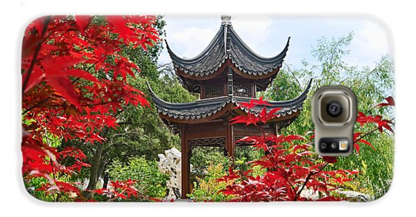 Garden Galaxy S6 Case - Red - Chinese Garden With Pagoda And Lake. by Jamie Pham