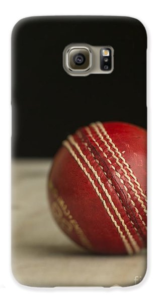 Cricket Galaxy S6 Case - Red Cricket Ball by Edward Fielding