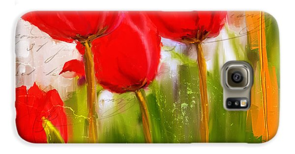 Red Enigma- Red Tulips Paintings Galaxy S6 Case by Lourry Legarde