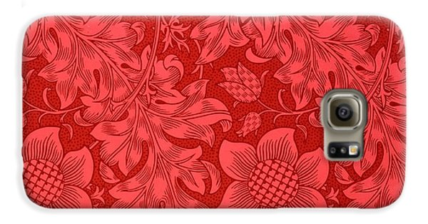 Red Sunflower Wallpaper Design, 1879 Galaxy S6 Case by William Morris