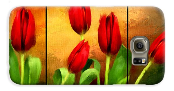 Red Tulips Triptych Galaxy S6 Case by Lourry Legarde