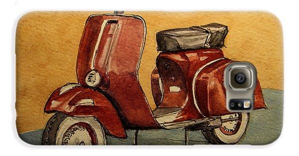 Motorcycle Galaxy S6 Case - Red Vespa by Juan  Bosco