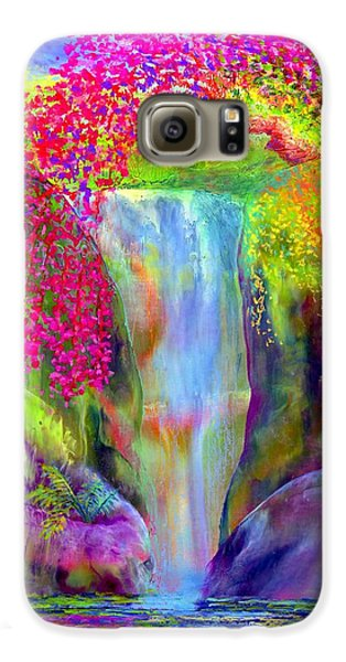 Waterfall And White Peacock, Redbud Falls Galaxy S6 Case