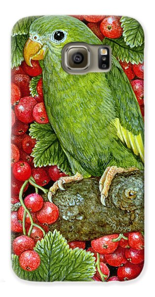 Redcurrant Parakeet Galaxy S6 Case by Ditz
