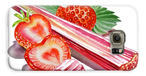 Galaxy S6 Case featuring the painting Rhubarb Strawberry by Irina Sztukowski