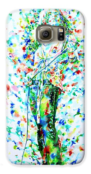 Robert Plant Singing - Watercolor Portrait Galaxy S6 Case