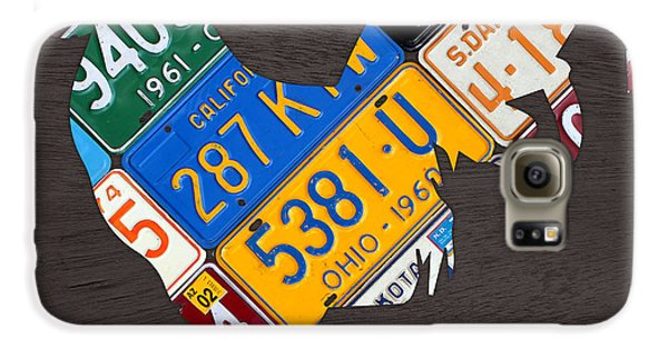 Rooster Recycled License Plate Art On Gray Wood Galaxy S6 Case by Design Turnpike