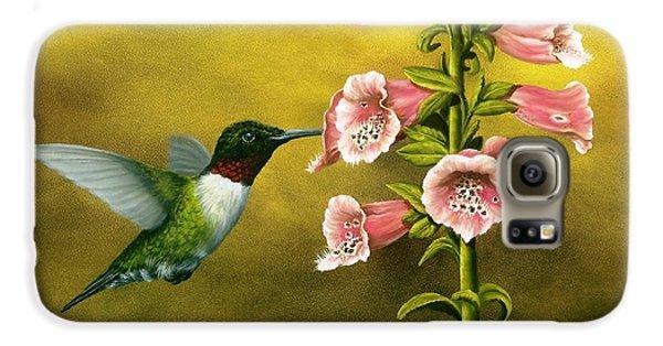 Ruby Throated Hummingbird And Foxglove Galaxy S6 Case