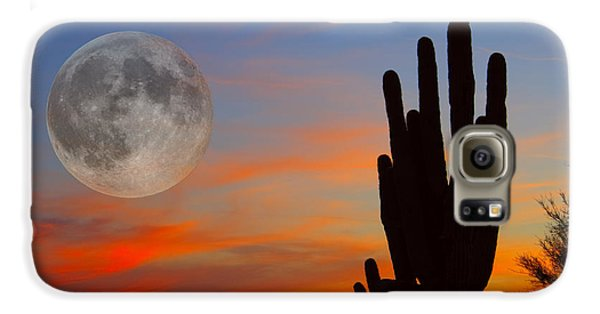 Saguaro Full Moon Sunset Galaxy S6 Case by James BO  Insogna