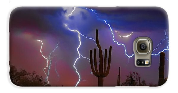 Saguaro Lightning Nature Fine Art Photograph Galaxy S6 Case by James BO  Insogna