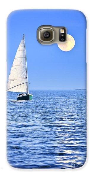 Boat Galaxy S6 Case - Sailboat At Full Moon by Elena Elisseeva