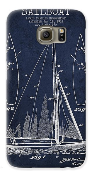 Boat Galaxy S6 Case - Sailboat Patent Drawing From 1927 by Aged Pixel