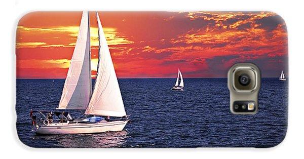 Sailboats At Sunset Galaxy S6 Case