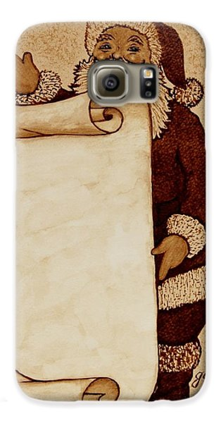 Galaxy S6 Case featuring the painting Santa Claus Wishlist Original Coffee Painting by Georgeta  Blanaru