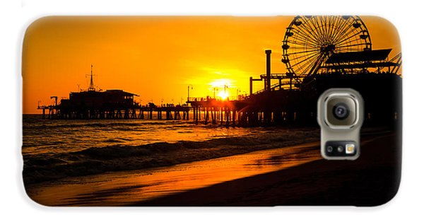 Santa Monica Pier California Sunset Photo Galaxy S6 Case by Paul Velgos