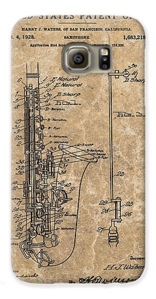 Saxophone Patent Design Illustration Galaxy S6 Case by Dan Sproul