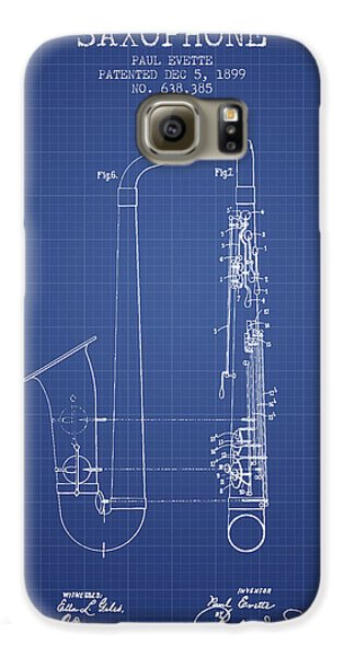 Saxophone Patent From 1899 - Blueprint Galaxy S6 Case by Aged Pixel