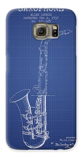 Saxophone Patent From 1937 - Blueprint Galaxy S6 Case by Aged Pixel