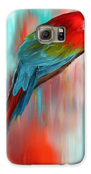 Macaw Galaxy S6 Case - Scarlet- Red And Turquoise Art by Lourry Legarde