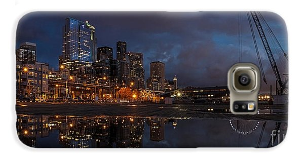Seattle Night Skyline Galaxy S6 Case by Mike Reid