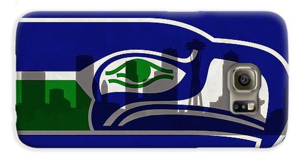 Seattle Seahawks On Seattle Skyline Galaxy S6 Case by Dan Sproul