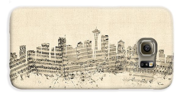 Seattle Washington Skyline Sheet Music Cityscape Galaxy S6 Case by Michael Tompsett